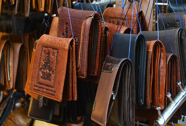 leather wallets display